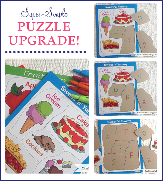 This is an awesome idea to upgrade and revamp those inexpensive cardboard puzzles. Turn them into something a toddler can do, that is also educational!!