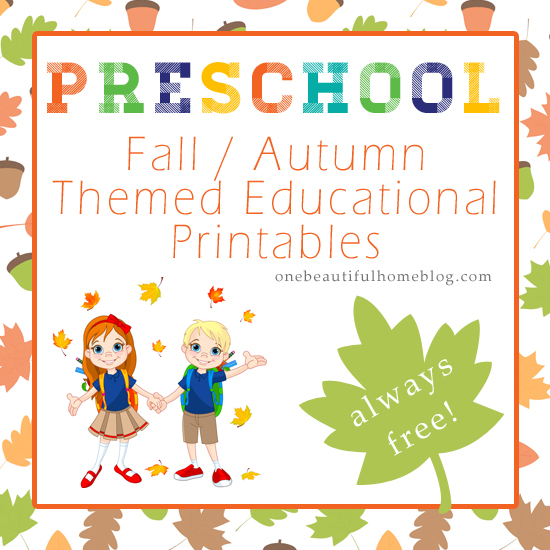 PRESCHOOL fall - autumn themed printables