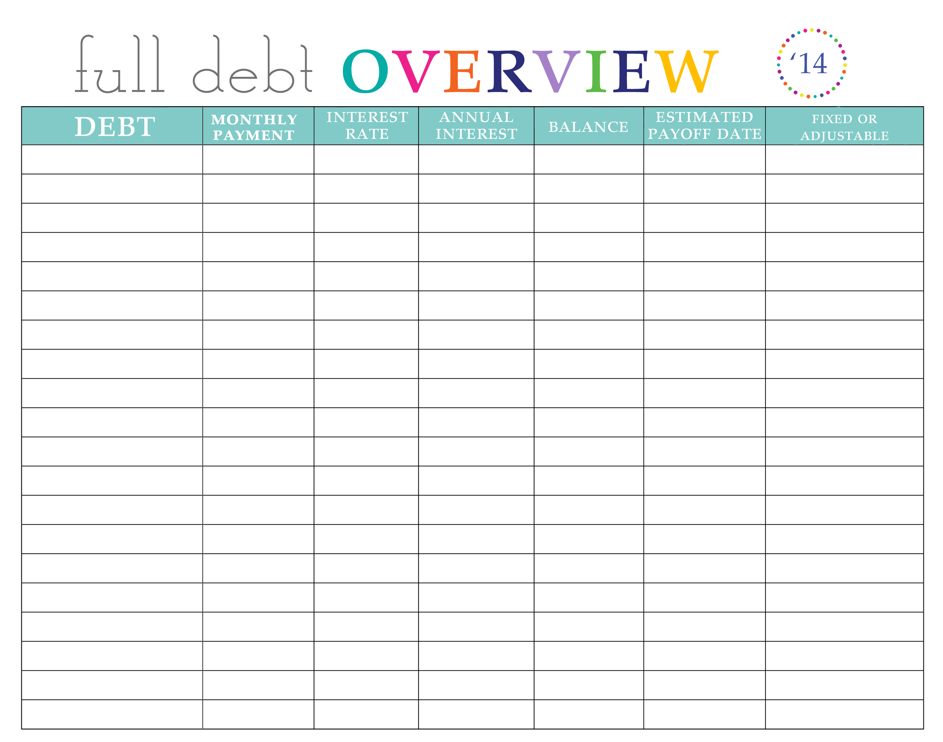 paying off debt worksheets