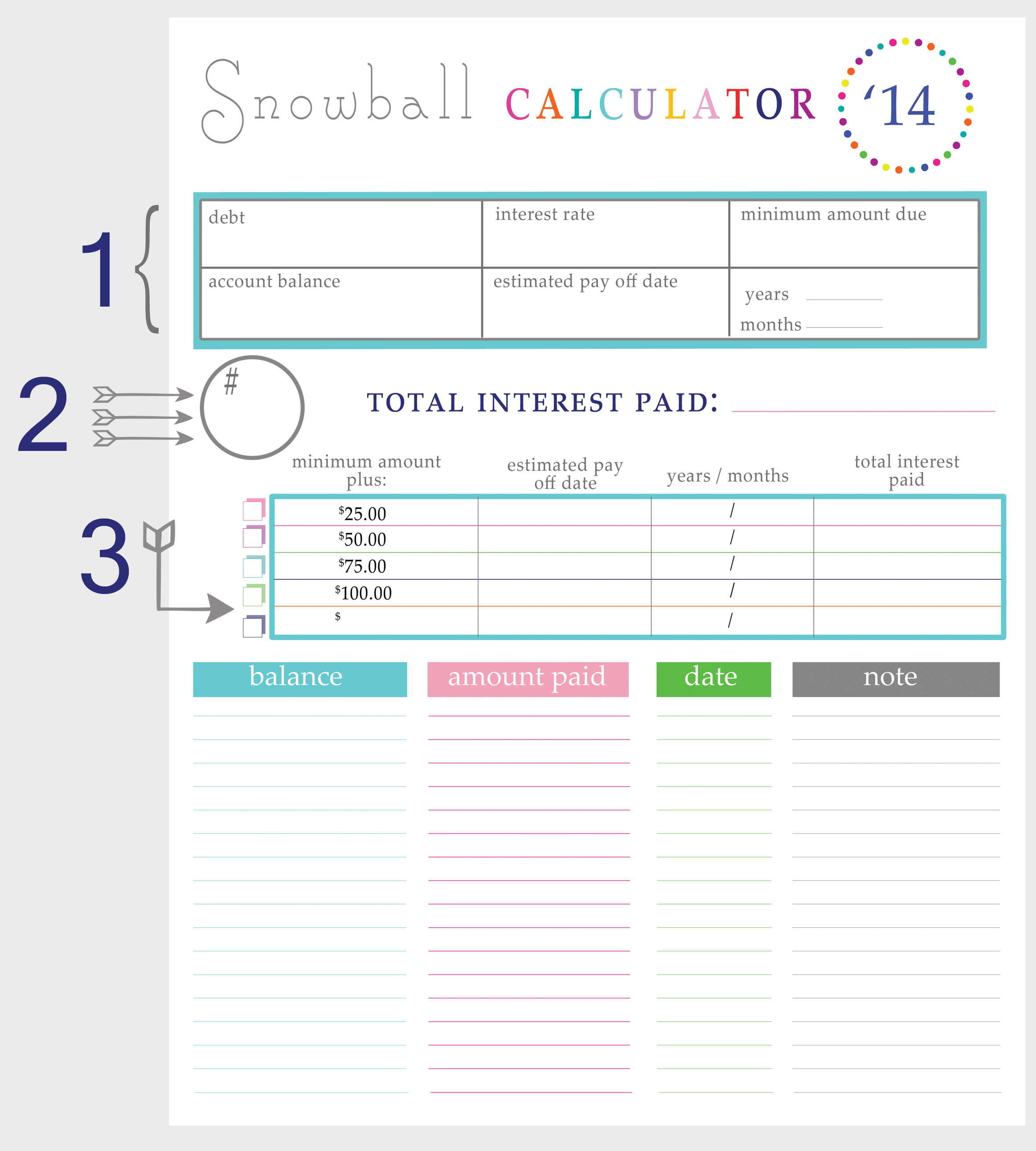 Printables Debt Worksheet paying off debt worksheets snowball calculator breakdown