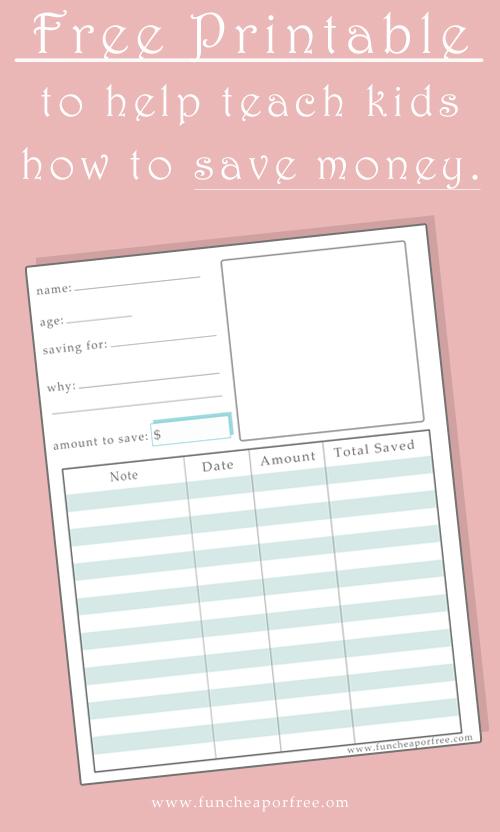 Free Printable to help teach kids how to save money