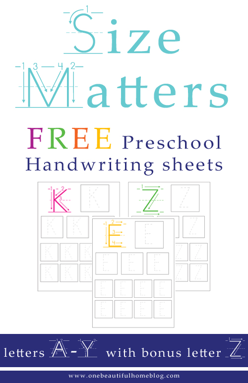 Size Matters on handwriting sheets for kindergarten