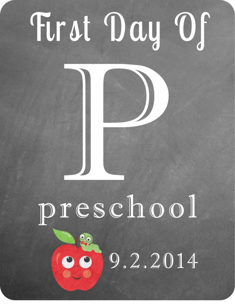 First Day of Preschool Option 2
