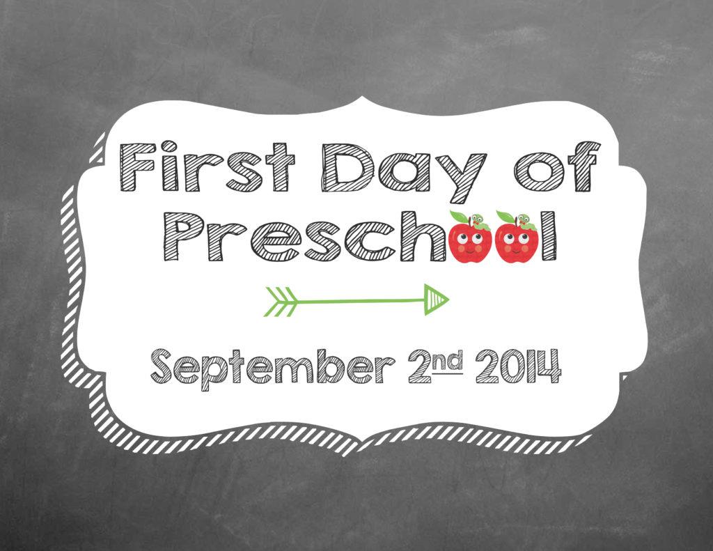 First Day of Preschool Option 4