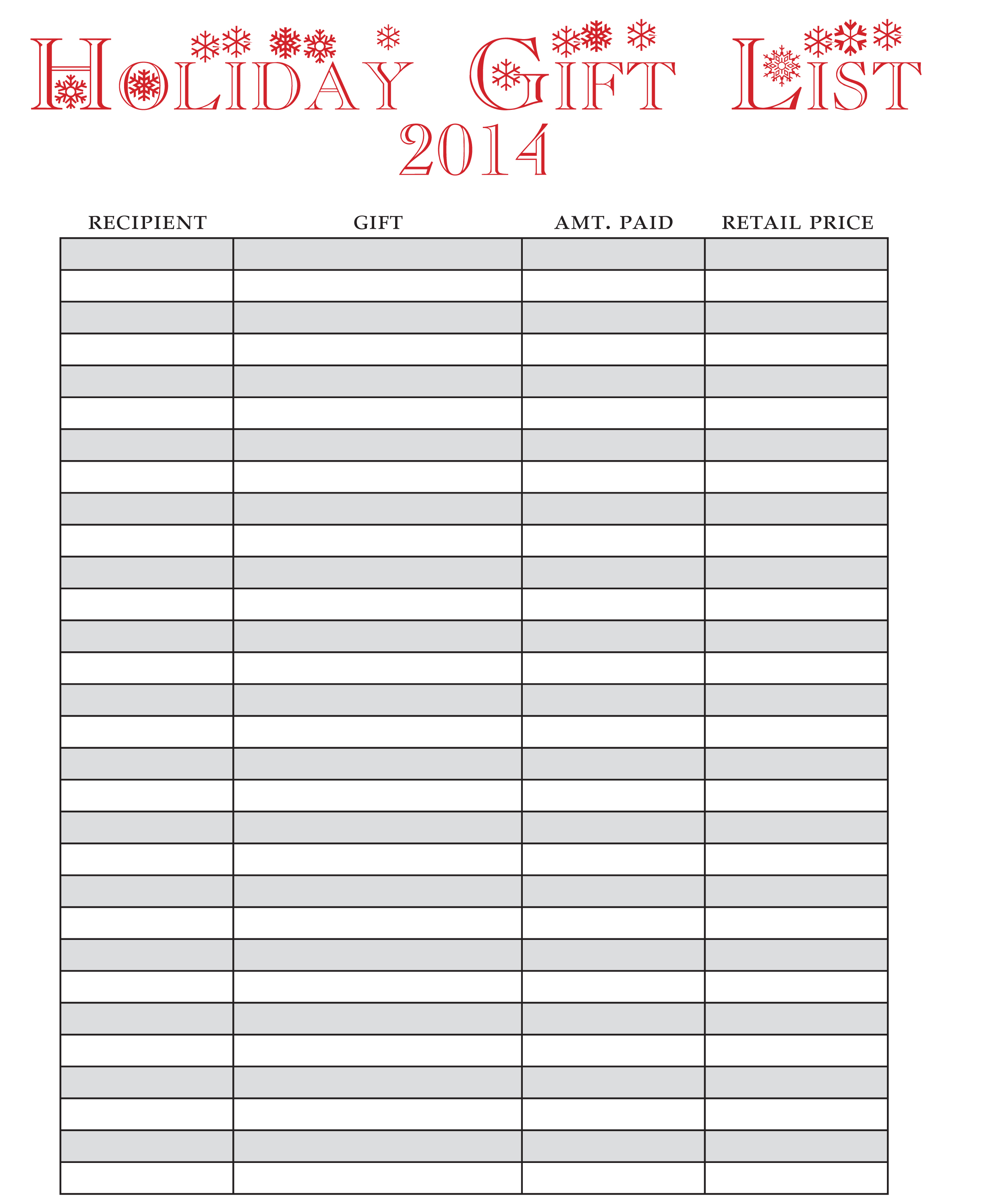 Holiday Gift List Image  Free Printable Christmas Lists