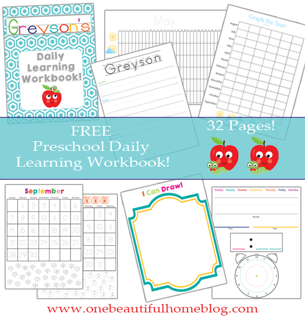Daily Calendar Kindergarten : Preschool daily learning workbook free printable one