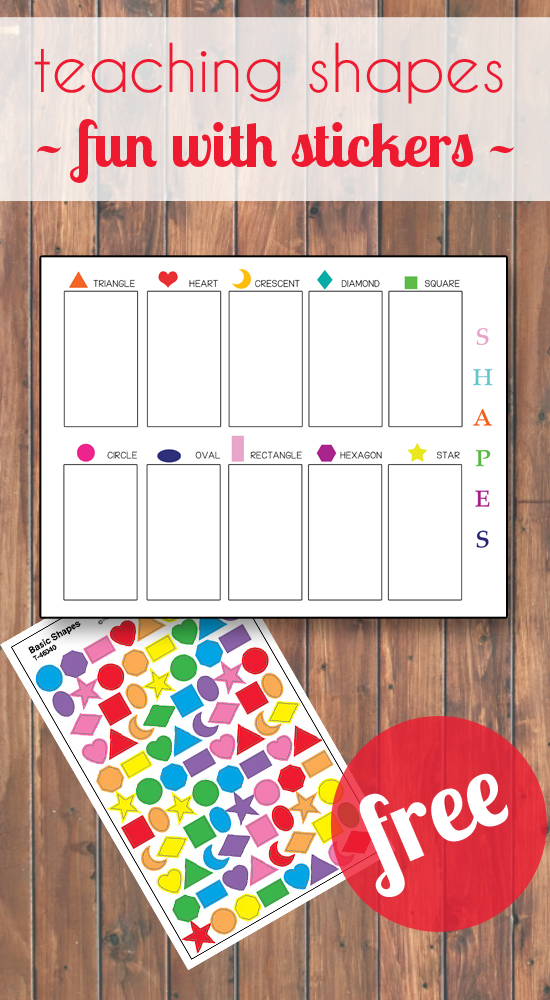 Using fun stickers to help your little learner learn all about shapes!