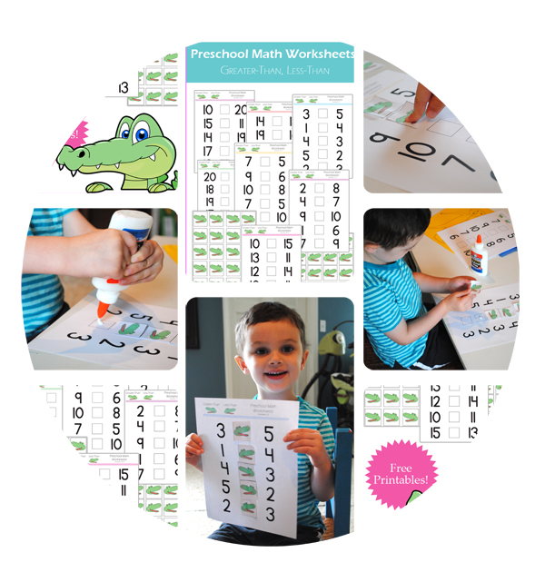 Preschool Math Worksheets: Greater-than, Less-than