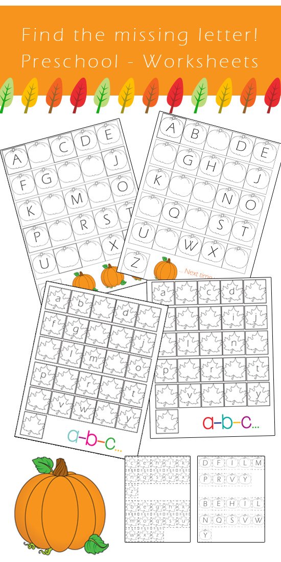 preschool alphabet worksheets find the missing letter fall edition one beautiful home. Black Bedroom Furniture Sets. Home Design Ideas