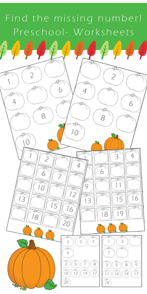 preschool number worksheets find the missing number fall edition one beautiful home. Black Bedroom Furniture Sets. Home Design Ideas