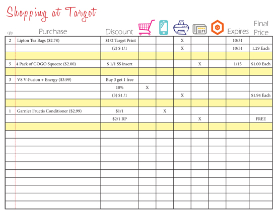 Coupon Organizing Printable