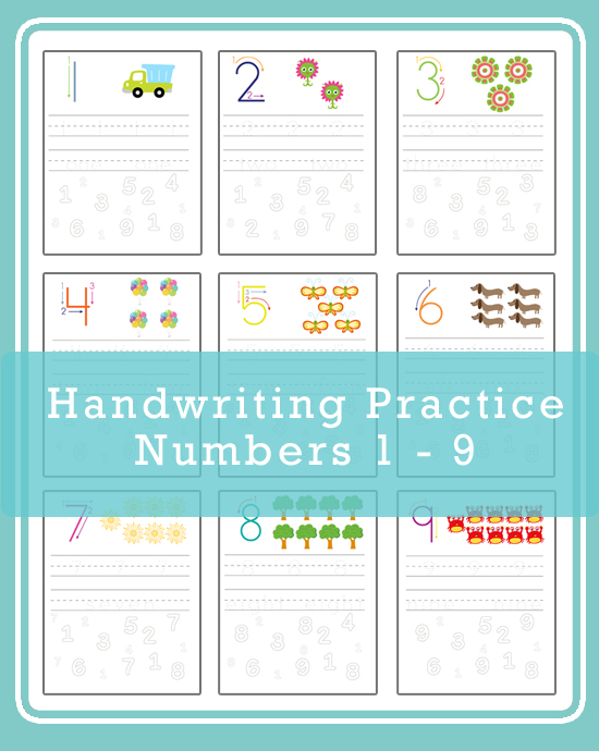 Handwriting Practice - Numbers 1 -9 » One Beautiful Home