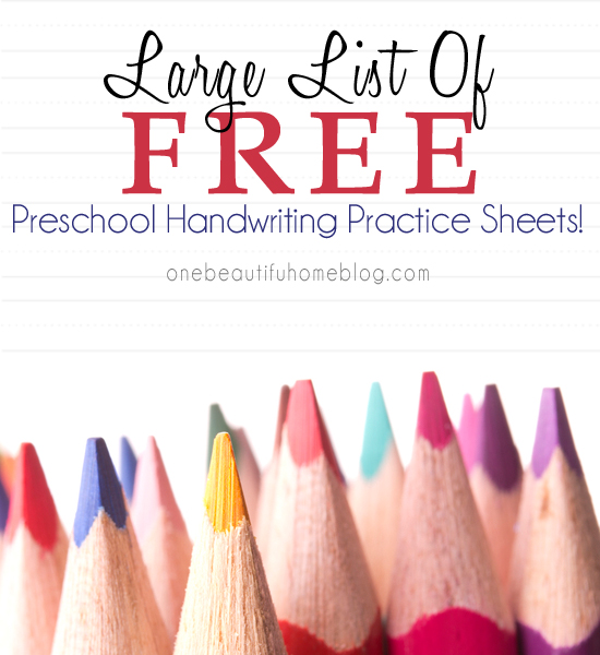 Large List of awesome Themed Handwriting Practice Printables!! They are perfect for your preschooler!