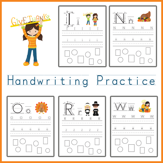 Handwriting Practice Thanksgiving