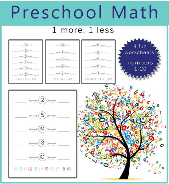Preschool math one more one less