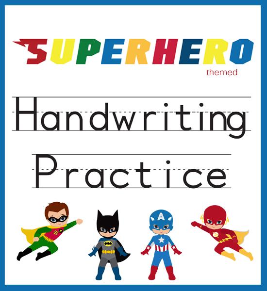 Superhero Themed Handwriting Practice