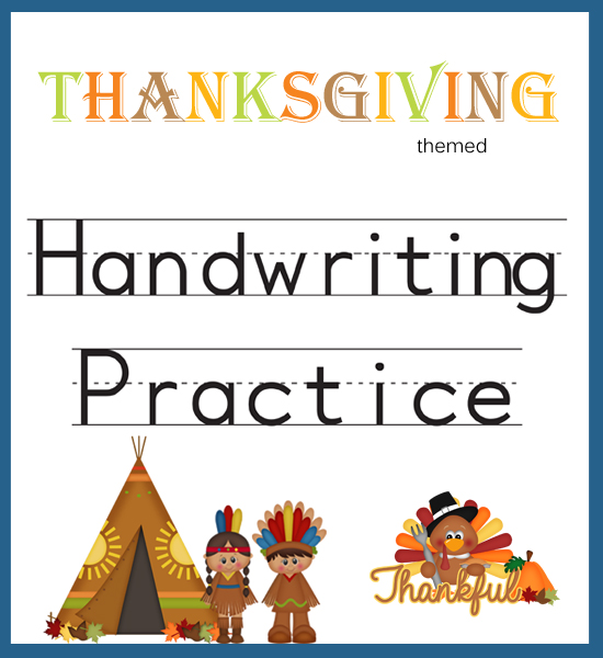 Handwriting Practice Thanksgiving Themed