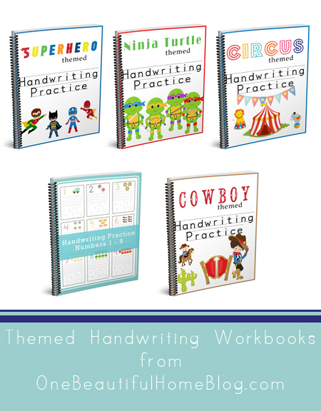 Themed handwriting workbooks for preschoolers. These printable workbooks are a perfect way for your preschooler to work on their handwriting skills....plus they will love the images!!