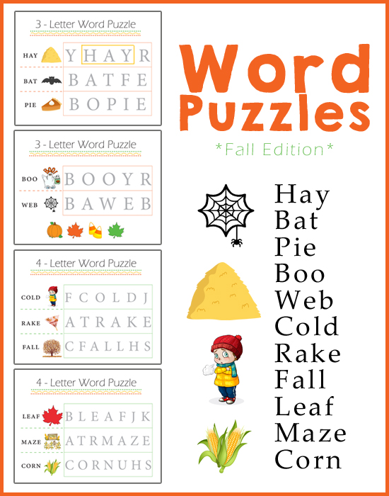 Preschool Worksheets Word Puzzles Fall Edition One