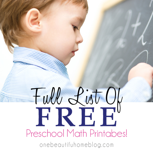 Full list of preschool math printables