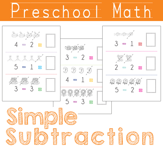 Preschool Math - Simple Subtraction Worksheets