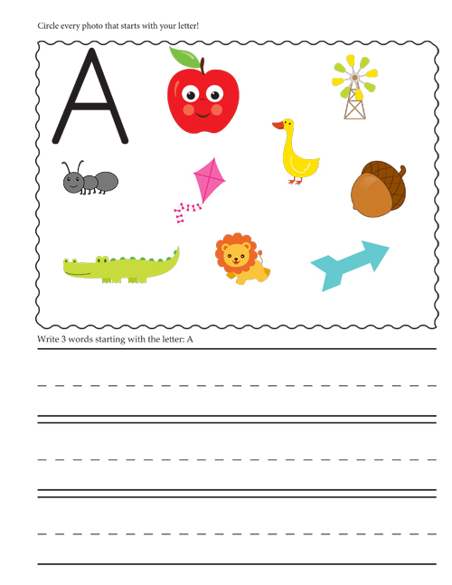 Letter A - Beginning Letter Sounds worksheet.