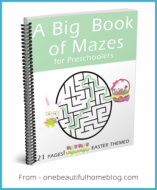 21 pages of Easter themed mazes for your preschooler!