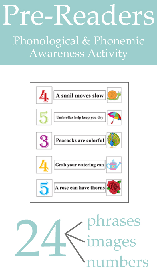 Pre-Readers Phonological and Phonemic Awareness Activity. This is a really fun activity to help prep your child to start reading!