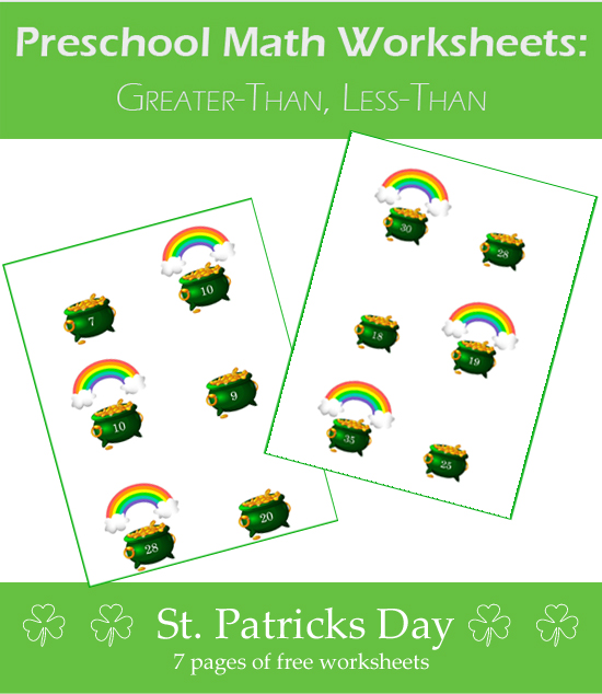 Preschool Math, Greater than Less than worksheets. For St. Patrick's Day