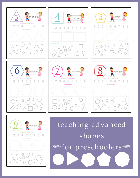Looking to teach your child more than just the basic shapes? Then these activity pages are perfect for you!!
