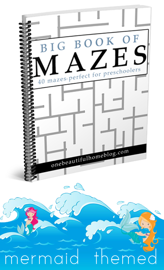 Big Book of Mazes - Mermaid themed. These mazes are the perfect activity and difficulty level for preschoolers.
