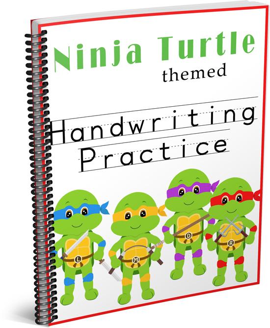 Ninja Turtle Themed Handwriting Practice workbook for preschoolers