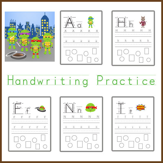 Ninja Turtle Themed Handwriting Practice