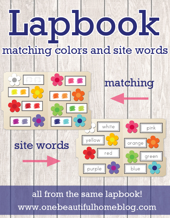 Teaching color matching and site words all from one lap book!