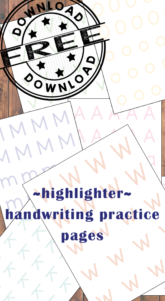 Looking for some effective handwriting practice pages for your child? Look no further than these highlighter inspired FREE pages!!