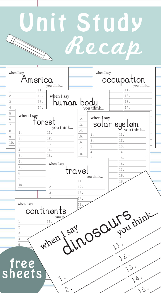 "Such a great way to see what a student has ""gotten out of"" a lesson / unit study! Comes with 20 pre-filled topics, and one blank one! LOVE this idea!"