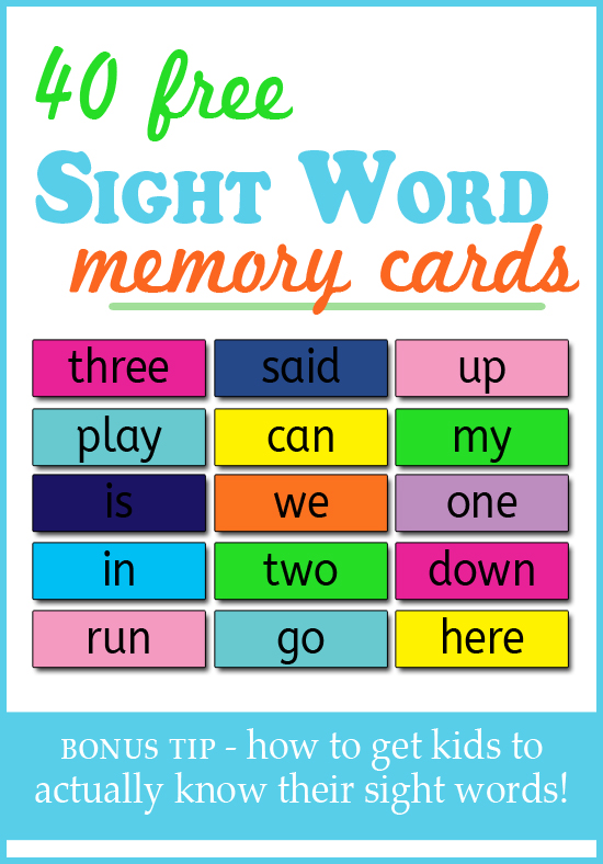 sight word memory cards! The best way to teach a child their sight words is through exposure! This blog has some great tips and resources!!
