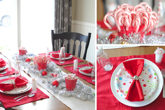 Silver tinsel covering the table with tree decorations candy canes and .97 paper plates (placed on top of the white plates u2013 I found these at Wal-Mart) ... & Christmas Morning Table settings u0026 Tips » One Beautiful Home
