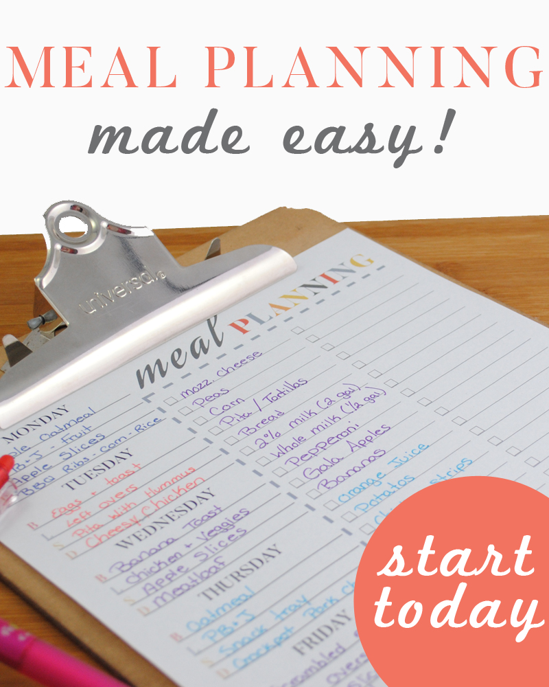 Meal Planning Page. Grab this printable and start saving yourself a ton of hassle and a lot of money!!