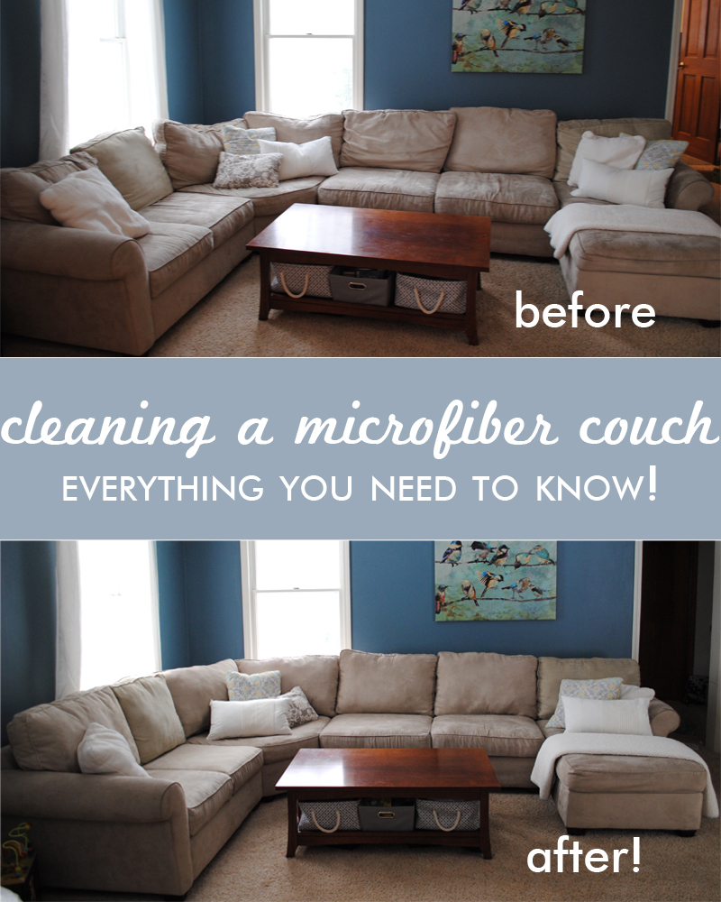 cleaning a microfiber couch, before and after