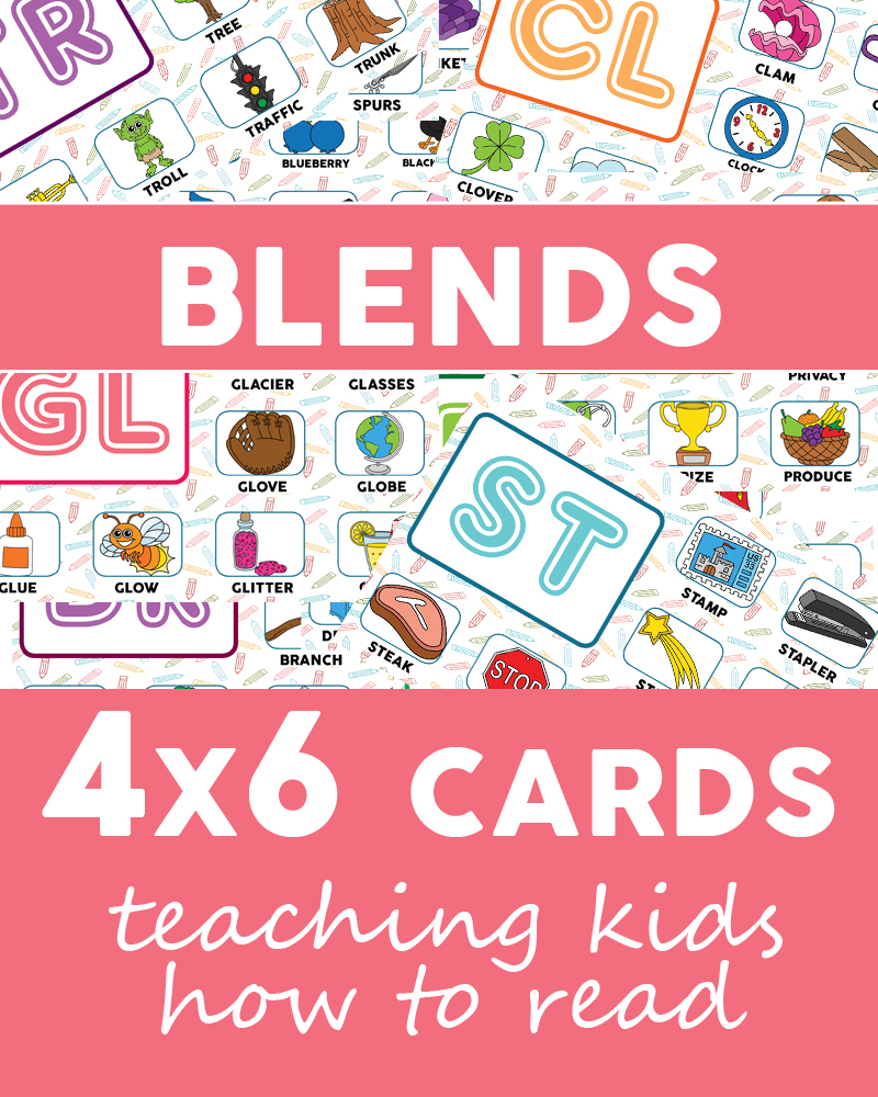 Blends flashcards, teaching kids how to read
