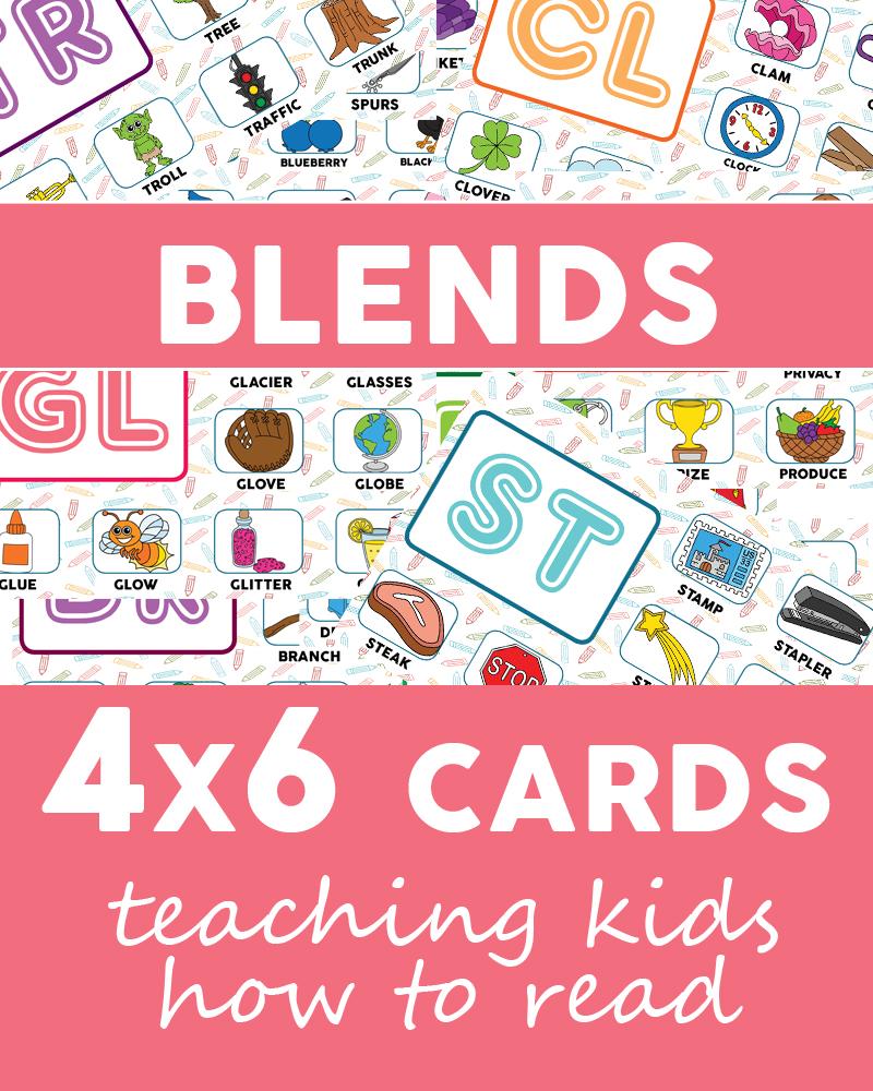 Blends Flashcards, 4x6 sized >> OneBeautifulHomeBlog