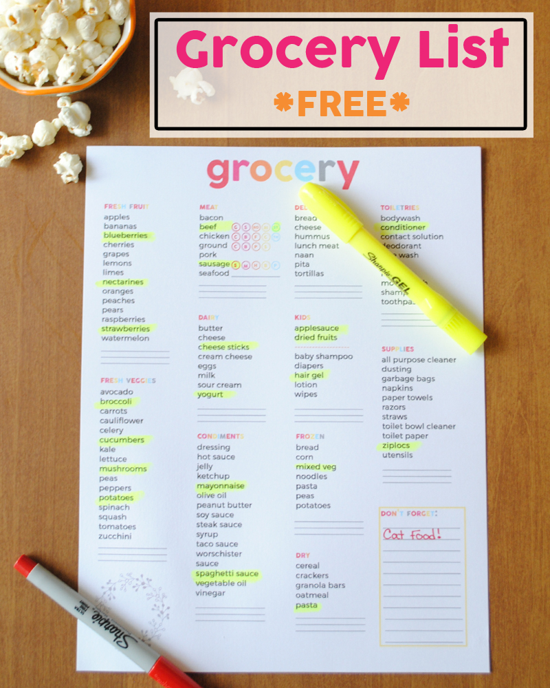 grocery-list-free-printable