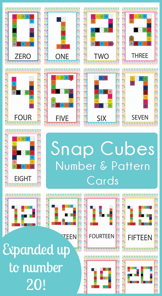 Snap Cube Number and Pattern Cards 1-20