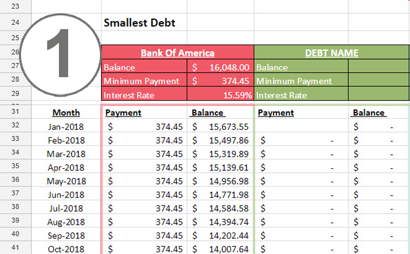 debt snowball worksheet