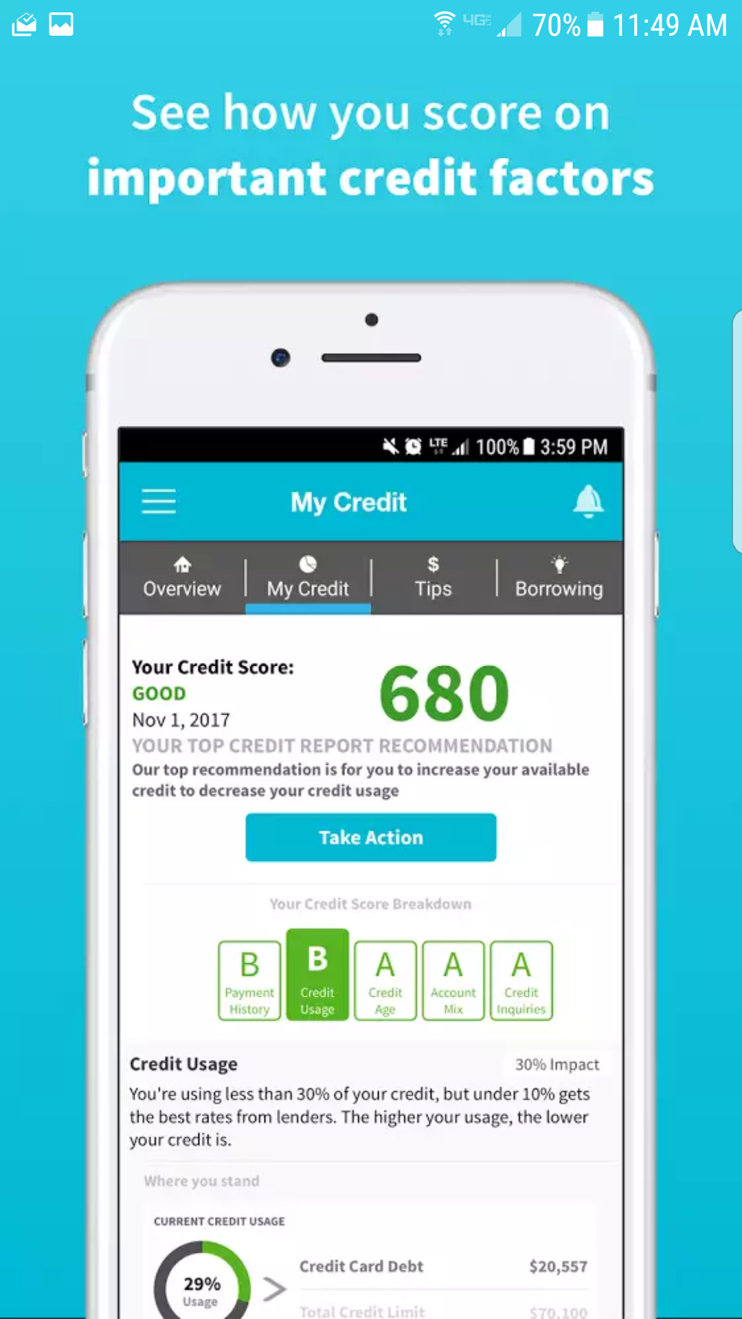 Manage your credit report / credit score